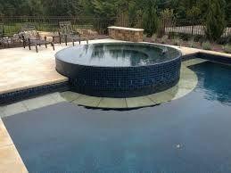 Infinity spa, glass tile spa Tuscan, Mediterranean pool and spa, reef, beadcrete