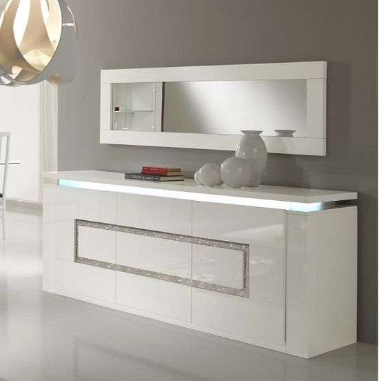 Garde Sideboard In White Gloss With Lights And Diamante White