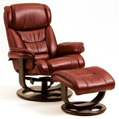 Angelo Leather Essentials Ergonomic Recliner Leather: Red Click