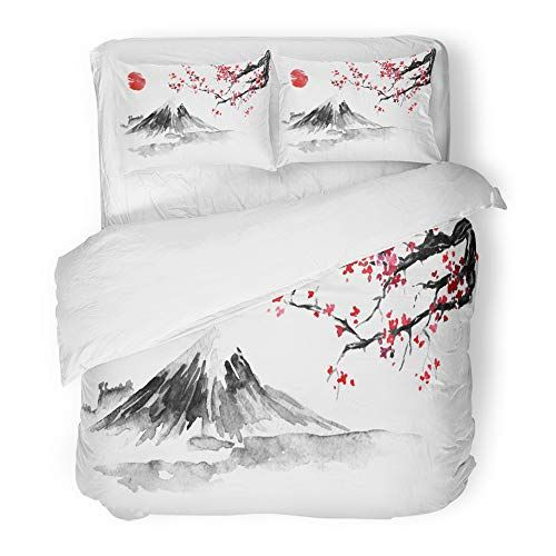Emvency Decor Duvet Cover Set King Size Japan Traditional Sumi E Painting Fuji Mountain Sakura Sunset Sun Indian Ink Print Bedding Duvet Cover Sets Bedding Set