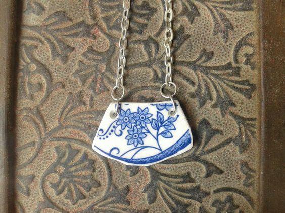 Broken  China Blue and White pendant by AzureJoyeria on Etsy