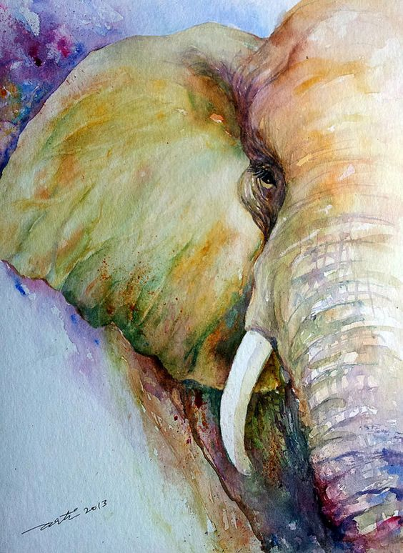Art de la faune Art peinture Elephant Animal peintures Wall Art aquarelle originale