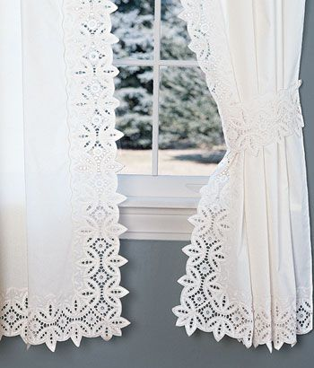 Battenburg Lace Rod Pocket Curtains...so pretty! Country Curtains ...