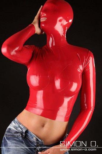 Damen Latex Top mit Latex Maske