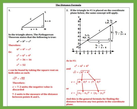 Deriving The Distance Formula Teaching And Practice Distance Formula Teaching Formula The distance formula worksheet answers