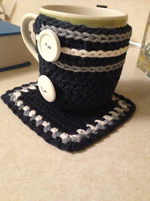 Free Crochet Pattern For Mug Rug : Crochet mug cozy, Mug cozy and Mugs on Pinterest