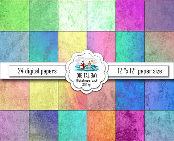 GRUNGE MULTICOLOR  Digital papers  Instant download  by DigitalBay