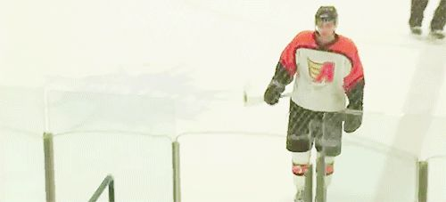 "toewsaf: ""toewscrosby: "" ""Hockey Player Clotheslines Self After Forgetting His Stick Must Fit Through Door"" x "" I've only seen this holy gif(t) with the Canucks logo rightfully over the actual team's..."