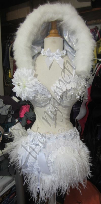 White fantasy costume with lighting. Inspired by Fashionatrix.