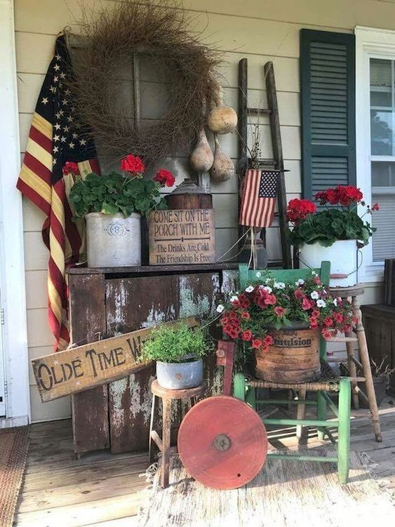 28 Stunning Rustic Style Fourth Of July Independence Day Decor Ideas Spring Porch Decor Porch Decorating Front Porch Decorating