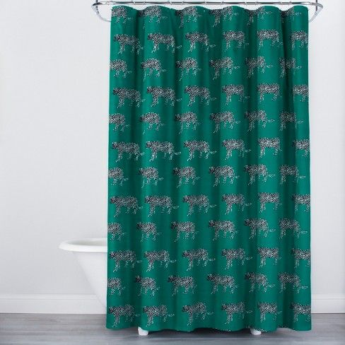 Panther Print Shower Curtain Green Opalhouse Target Printed
