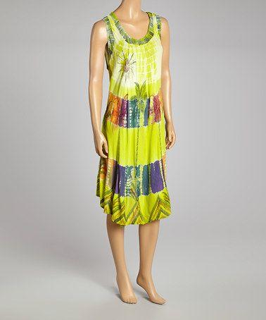 Loving this Green Floral Tie-Dye Sleeveless Dress on #zulily! #zulilyfinds