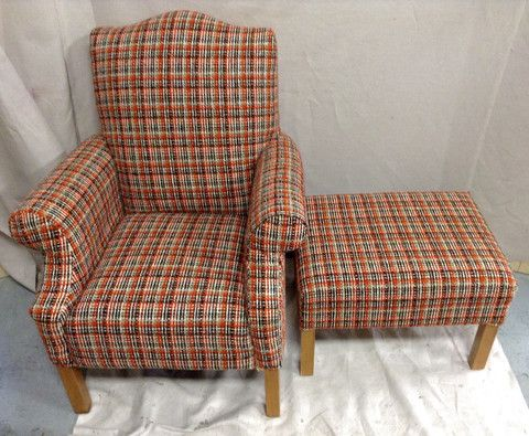 Greystone Fine Furniture - Newly upholstered in original orange tweed retro fabric armchair and o