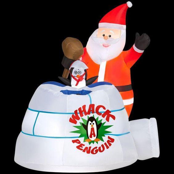 CHRISTMAS SANTA ANIMATED WHACK A PENGUIN IGLOO GEMMY INFLATABLE AIRBLOWN YARD