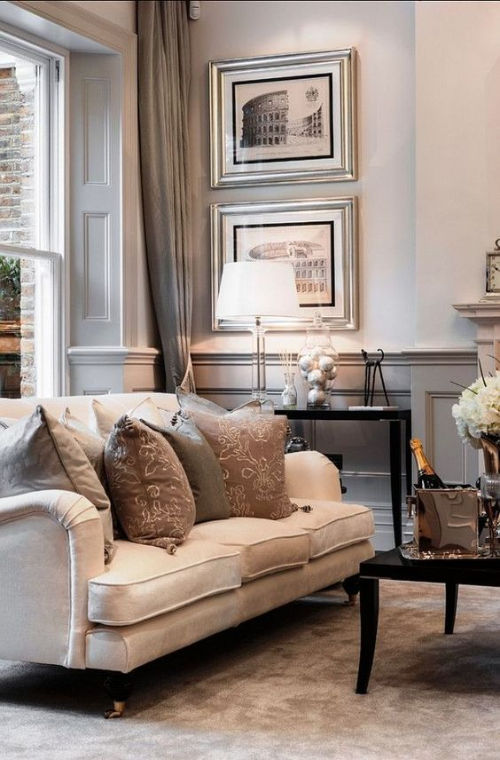 Sophisticated Interiors. Love the legs on this couch. I have the same in my home. CFMB #CMFB: