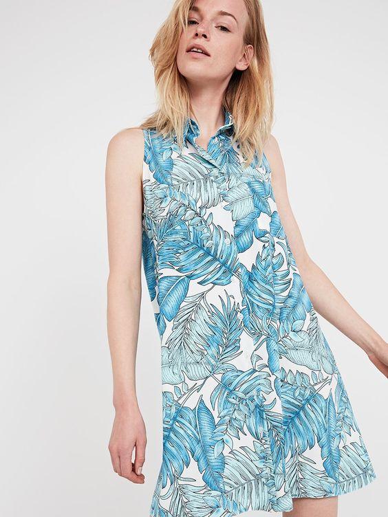 BLUE PATTERN BEACH FERN SLEEVELESS SHIRT #DRESS