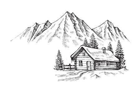 Cabane En Bois Dans Le Paysage Vecteur Hiver Illustration Dessin De Paysage Facile Dessin Paysage Noir Et Blanc Croquis De Paysage
