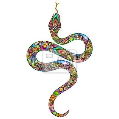 Wall Mural Snake Psychedelic Art Design-Serpente Psichedelico Arte Grafica