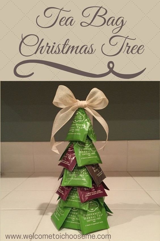 Tea Bag Christmas Tree - I Choose Me Learn how easy it is to make a Tree Bag Christmas Tree for the tea lover on your list. Download your Creativity Card and create your own giftable tree.: