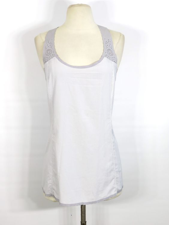 LULULEMON ATHLETICA Women White Grey Logo Cut Out Detail Racer Back Sports Shirt Top 8