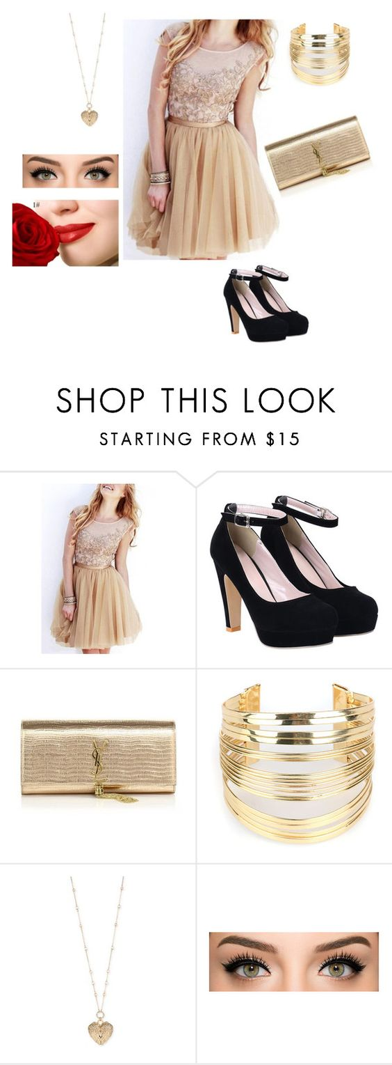 """Golden"" by girlofharryes ❤ liked on Polyvore featuring Yves Saint Laurent, WithChic and Betsey Johnson"