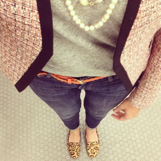 Today-tweed, leopard & pearls! #ootd #whatiwore #fashiondiaries #fashion - @kscov- #webstagram