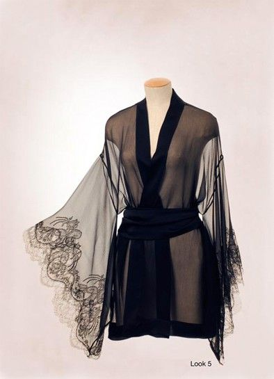 Sheer #chiffon luxury lingerie #robe, sensual #black lace it's a whisp of a lingerie dream from Carine Gilson.