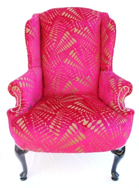 The Divine Chair - A classic vintage frame, reholstered in Harlequin's Arcadia - 7213 and finished with silver nails around the arms and legs www.thedivinechai...