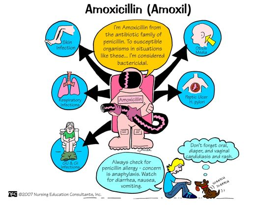 Amoxicillin (Amoxil) Amoxil (amoxicillin) is a penicillin antibiotic. It fights bacteria in your body. It is used to treat many different types of infections caused by bacteria, such as ear infections, bladder infections, pneumonia, gonorrhea, and E. coli or salmonella infection.