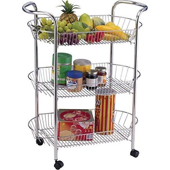 Kitchen Trolley 3 Tiers Wheels Cart Storage Stand Fruit Vegetable Rack Basket Kitchen Food Storage Kitchen Trolley Kitchen Trolley Cart