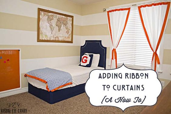 adding ribbon to curtains