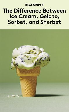 What's the Difference Between Ice Cream, Gelato, Sorbet, and Sherbet?   Is the difference between sorbet and sherbet just a matter of pronunciation? Is gelato just ice cream with an Italian accent? You'd be forgiven for thinking so: the terms are used interchangeably in conversation all the time. But actually, when it comes to labeling frozen treats in the supermarket, the USDA adheres to precise guidelines. Want the scoop? Here's our handy guide to seven of the most common varieties.