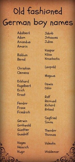 Old fashioned german boy names