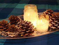 A Kosher Salt Snowstorm! Snowdrift Luminary & Pinecone Centerpiece - creative jewish mom