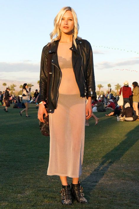 One showgoer bares it all in a sheer dress and Chloé studded boots.