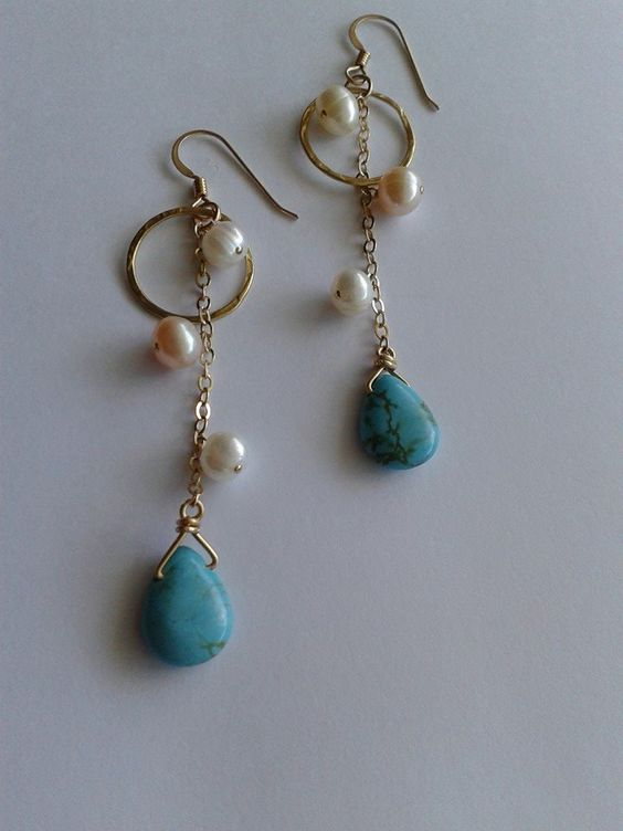 Freshwater pearl earring anchored with a turquoise briolette on 14kt gold fill