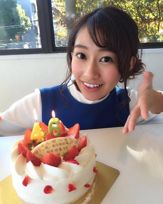 46のロウソクをさしたケーキを前にした桜井玲香のかわいい画像