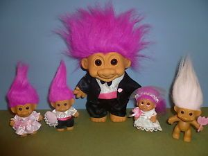 wedding troll dolls | Russ Wedding Troll Dolls- Large Groom, Small Bride, Small Bridesmaid ...