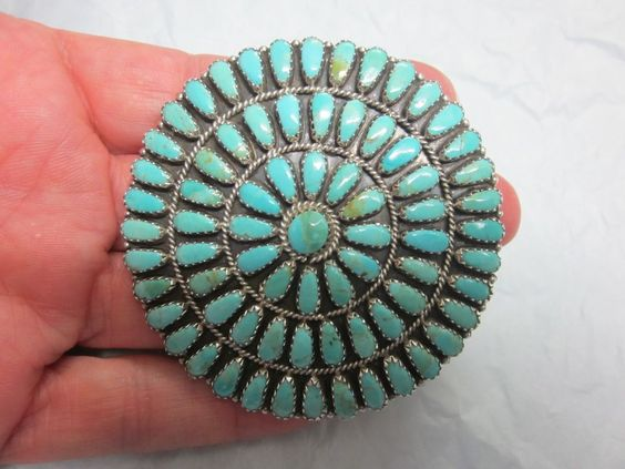 Old Pawn NATIVE AMERICAN Navajo LMB Sterling Silver TURQUOISE PIN Brooch PENDANT in Jewelry & Watches   eBay