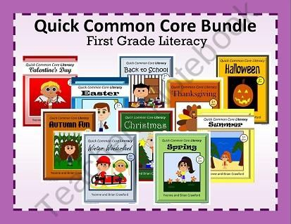 For 1st grade - The Quick Common Core Literacy Bundle is a packet of ten different books each containing 10 worksheets. $