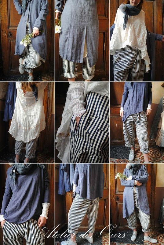 MLLE BLEUET : Veste redingote en lin bleu, pantalon rayé, chemise en coton, tee shirt en coton EWA IWALLA,