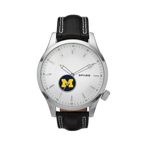 Sparo Watch - Men's Icon Michigan Wolverines Leather, Black
