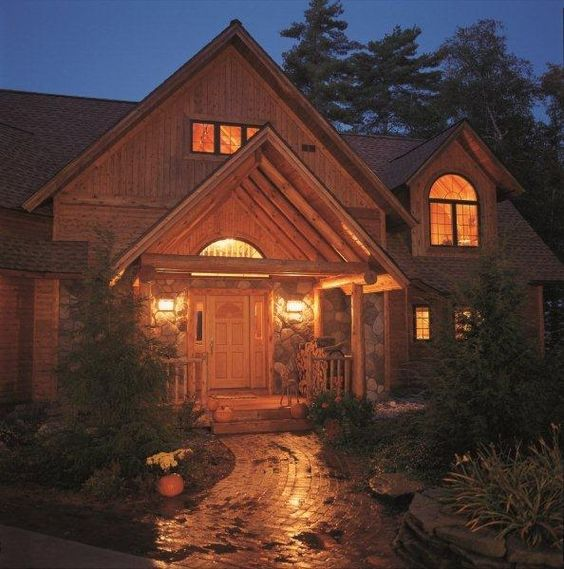 Log Home Exterior Ideas: The Cedar And Stone Components Of This Home Are Well