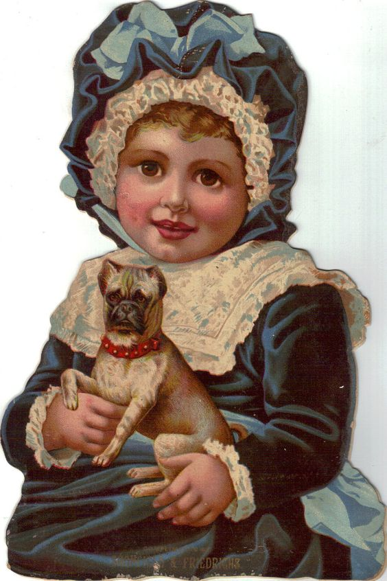 Die Cut Cardboard Adv Sign Mansfield Ohio Girl in Blue w Pug Dog | eBay