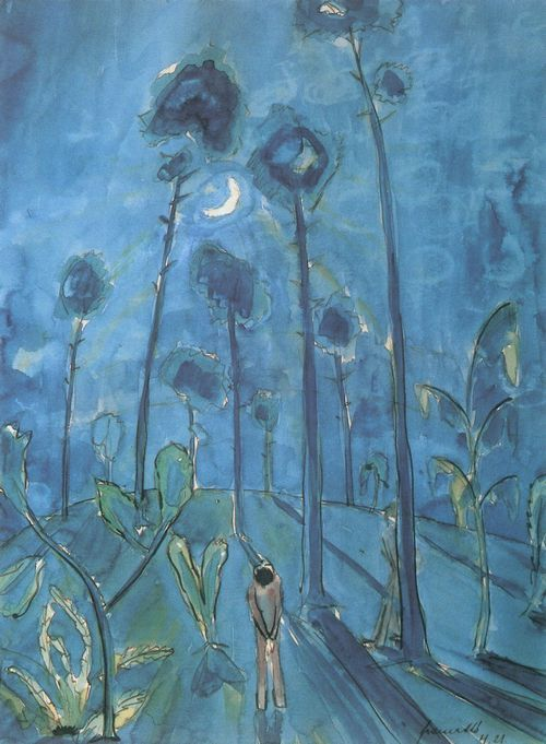 Gramatté, Walter: Mondlandschaft (zwei Figuren im Kiefernwald) 1921