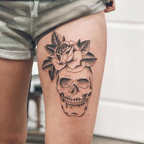 Easy Thigh Skull Tattoos - Best Thigh Tattoos For Women: Cute Leg Tattoos on Upper, Side, and Back Thigh - Pretty Cool Female Thigh Tattoo Designs and Ideas #womentattoo #tattoosforwomen #tattooideas #tattoodesigns #girltattoos #tattoos #bestgirltattoos