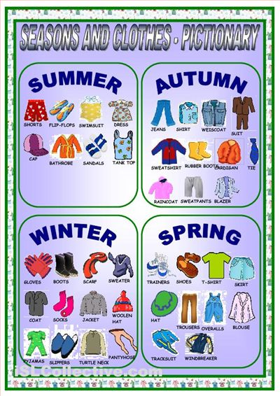 CLOTHES AND SEASONS-PICTIONARY worksheet - Free ESL ...