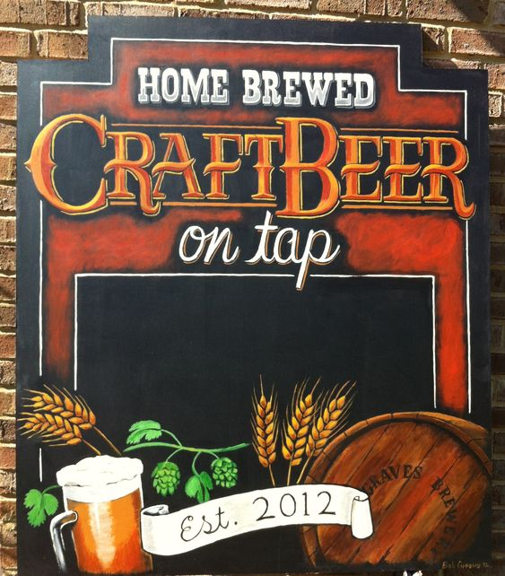 Custom Craft Beer Chalkboard Sign created for a Home Brewers Mancave in KY.  ArtFX Design Studios creates custom chalkboard signs & menuboards for restaurants, cafes, delis, businesses and corporate events.  For more examples, go to our website.  www.artfxdesignstudios.com