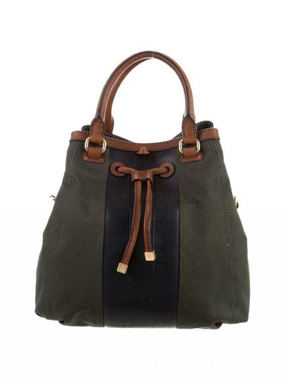 Black Fleece Leather-Accented Bucket Bag