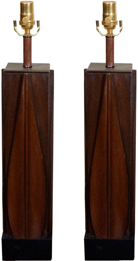 One Kings Lane - Rustic Comfort - Modernist Mahogany Lamps, Pair